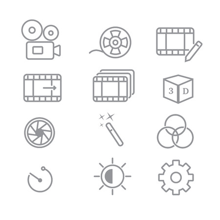 Video Editing Related Vector Line Icons