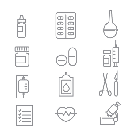 Medical icons with White Background. Vector Line Icons Illustration