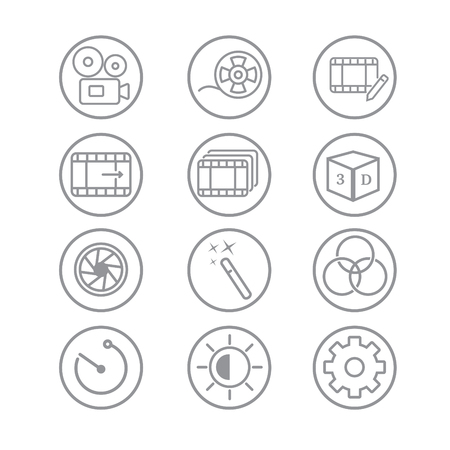 Video Editing Related Vector Line Icons.jpg Ilustrace