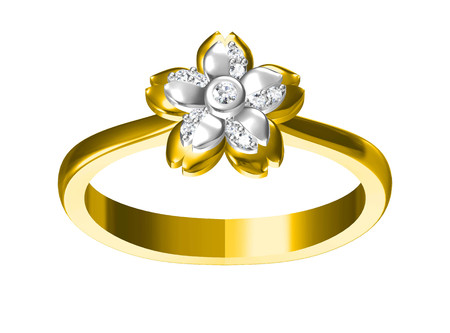 Wedding ring on white background. 3D rendering