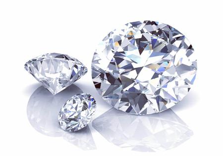 Ilustración de diamante blanco brillante. Representación 3D. (Imagen 3D de alta resolución) Foto de archivo