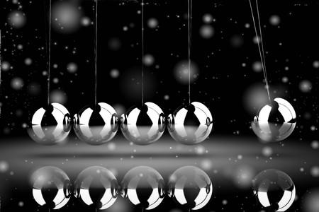 Balancing balls Newtons cradle (high resolution 3D image)