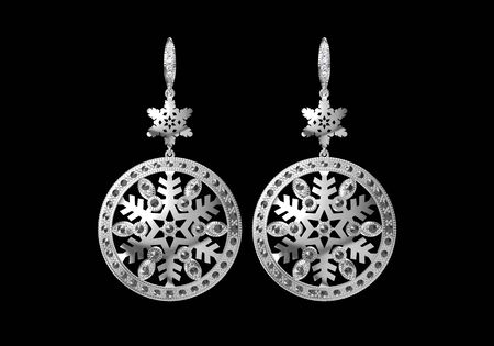 Beautiful earrings on white  background, 3D Rendering. Banque d'images