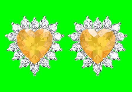 Beautiful earrings on green background, 3D Rendering. 스톡 콘텐츠