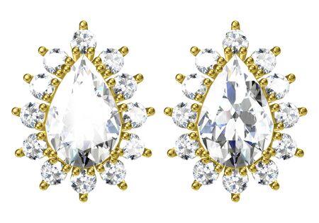 Beautiful earrings on white background, 3D Rendering.