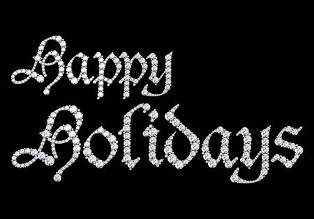 Happy holiday text from diamonds.3D rendering