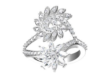 Wedding ring on white background .3D rendering