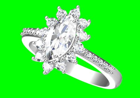 Wedding ring on green background .3D rendering