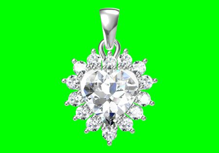 Beautiful pendant on green background .3D rendering background .3D rendering