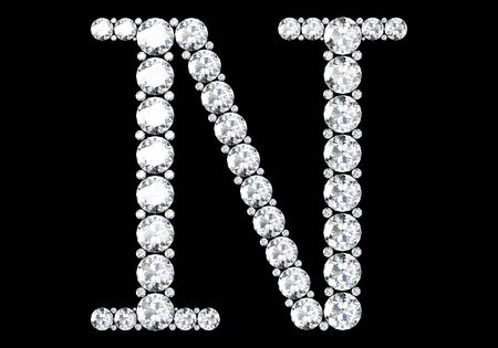 Diamond letters with gemstones isolated on black.3D rendering
