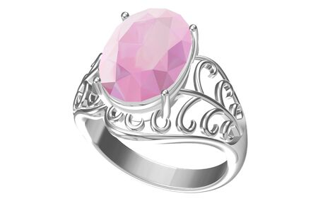 Wedding ring on white background .3D rendering
