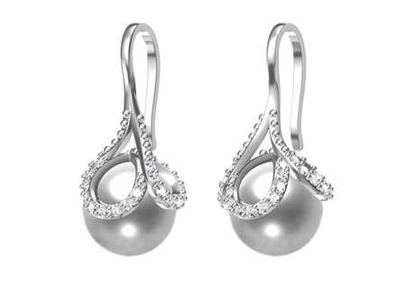 Beautiful earrings on white background. 3D Rendering. Zdjęcie Seryjne
