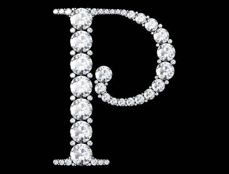 Diamond letters with gemstones isolated on black. 3D rendering