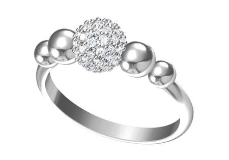 Wedding ring on white background. 3D rendering3D rendering
