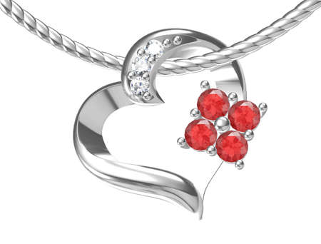 Beautiful pendant on white background. 3D rendering