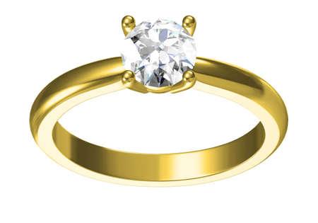 Wedding ring on white background .3D rendering Stockfoto