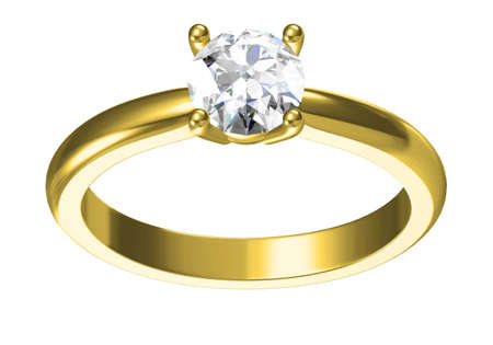 Wedding ring on white background .3D rendering Фото со стока