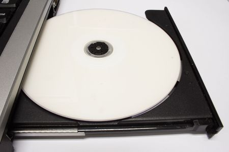 close-up photo of a notebook cd drive.