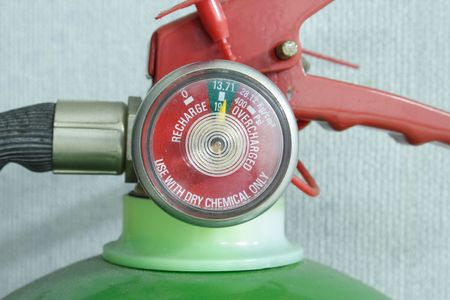 Close-up photo of a fire extinguisher guage