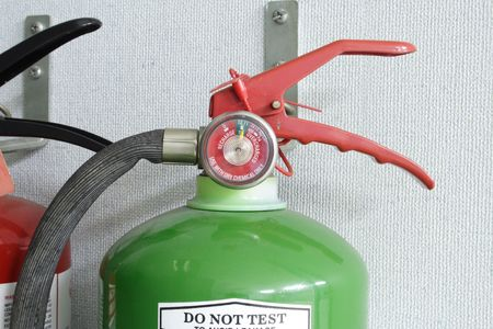 A photo of a fire extinguisher