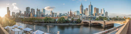 wide: Melbourne city with panorama view, Australia. Stock Photo