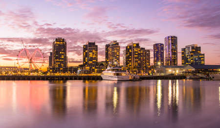 docklands: The docklands waterfront area of Melbourne in the evening, Australia. Stock Photo