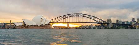 Sydney cityscape met panorama uitzicht, New South Wales, Australië.