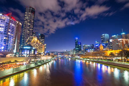 southgate: Melbourne city the worlds most liveable city of Australia at dusk. Stock Photo