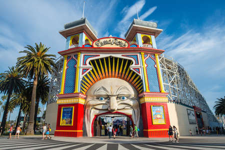 Melbourne, AUSTRALIA - OCTOBER 03 2015: Luna park the iconic amusement park of Melbourne, Australia.