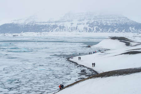Scenery view of Jokulsarlon glacier lagoon the famous iconic landscape of southern Iceland.