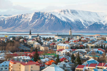 Scenery view of Reykjavik the capital city of Iceland in late winter season.