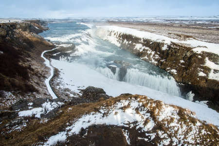 Gullfoss (Golden waterfall) the most famous waterfall in Iceland located on the golden circle route.