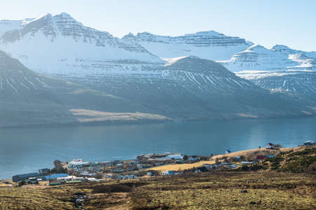 Beautiful mountains range in Stoovarfjorour the fisherman village in east fjord of east Iceland.