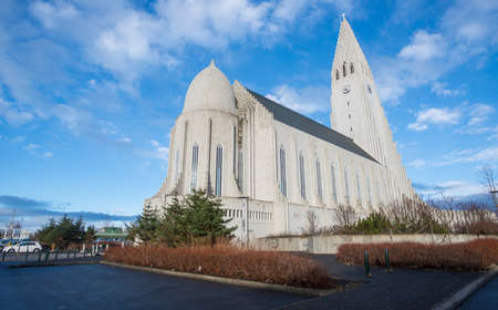 Hallgrimskirkja the largest and tallest church in Reykjavik the capital cities of Iceland. Back view.