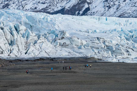 Tourist journey on the glacier of Skaftafell glacier in Vatnajokull national park of south Iceland.