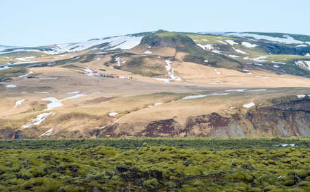 The spectacular landscape of Eldhraun lava moss field in Iceland. This impressive lava field the biggest lava flow in the world.