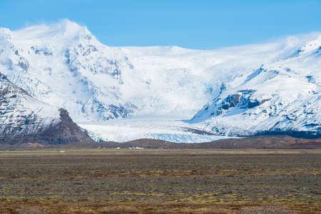 Scenery view of Skaftafell glacier in Vatnajokull national park of southern Iceland. Stok Fotoğraf