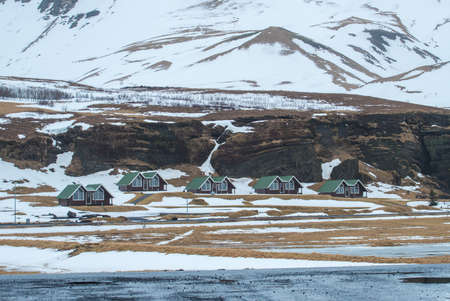 The small cottage in Vik town in Southern Iceland in winter season.