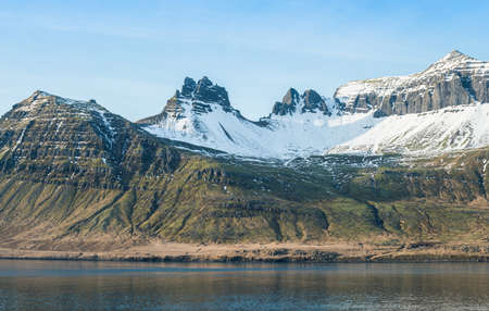 The beautiful mountains in Stoovarfjorour of East fjord of East Iceland.