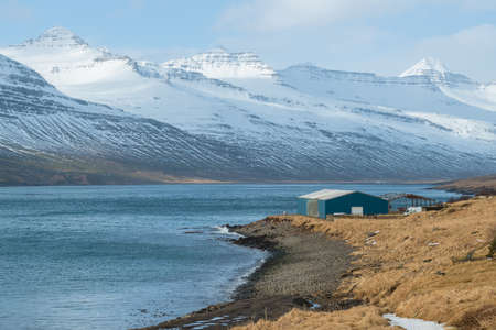 Beautiful mountains in Stoovarfjorour the fisherman village in east fjord of Iceland.