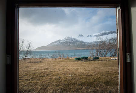 The beautiful nature is outside the window. Beautiful environment in East Iceland.