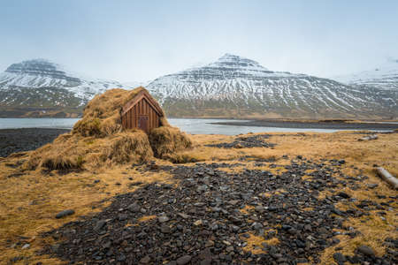 The landscape in east fjord of east Iceland during the winter season. Stok Fotoğraf
