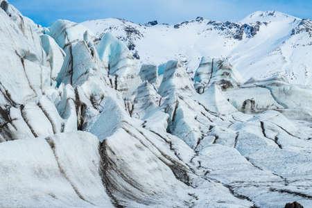 The Ice wall in Skaftafell glacier of Vatnajokull national park in southern Iceland. Stok Fotoğraf
