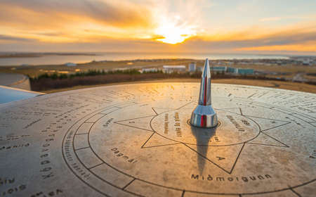 The sun compass of Iceland located on Perlan building on the hill of Reykjavik the capital cities of Iceland.