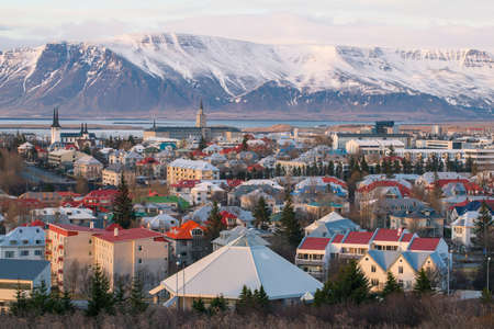 Reykjavik the capital city of Iceland in the evening time.