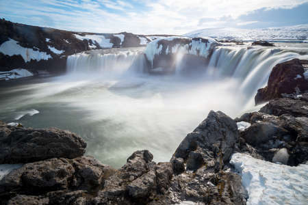 Godafoss (Goðafoss) the waterfalls of god one of the iconic natural landmark of North Iceland. Stok Fotoğraf