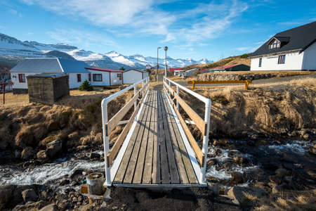 The bridge across the river in Stodvarfjordur the small lovely village of East Iceland.