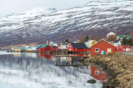 Eskifjordur the lovely fisherman village of east Iceland in winter season.