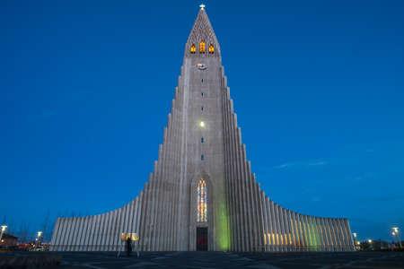Reykjavik, Iceland - March 27 2016: Hallgrimskirkja the largest and tallest church in Reykjavik the capital cities of Iceland. Editöryel