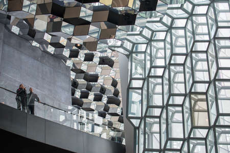 Reykjavik, Iceland - March 26 2016: The architecture inside Harpa concert hall one of the iconic place of Reykjavik, Iceland.